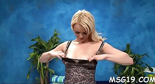 Oiled blondie gets bawdy cleft rammed