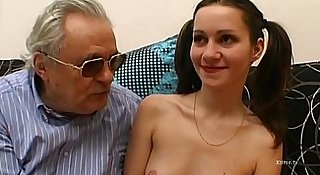 Two young lesbians are banged by some guys