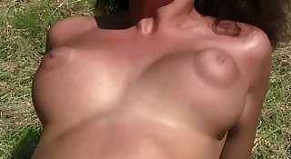 Young brunette Linet gets big tits jizzed outdoors